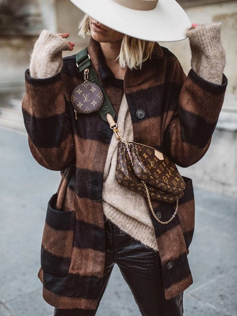 Plus size thick coat Checkered/plaid Casual Cotton Outerwear