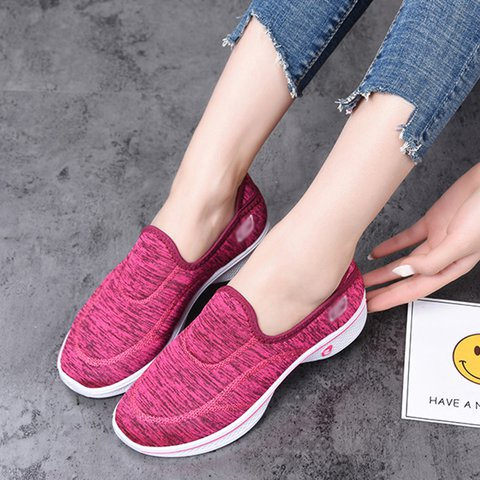 Women Round Toe Slide Casual Flat Heel Cloth Sneakers