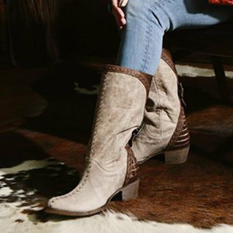 Womens Winter Low Heel Leather Boots