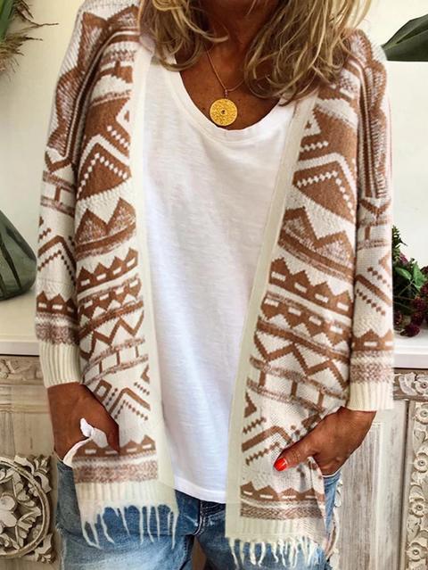 Khaki Geometric Long Sleeve Cotton Outerwear