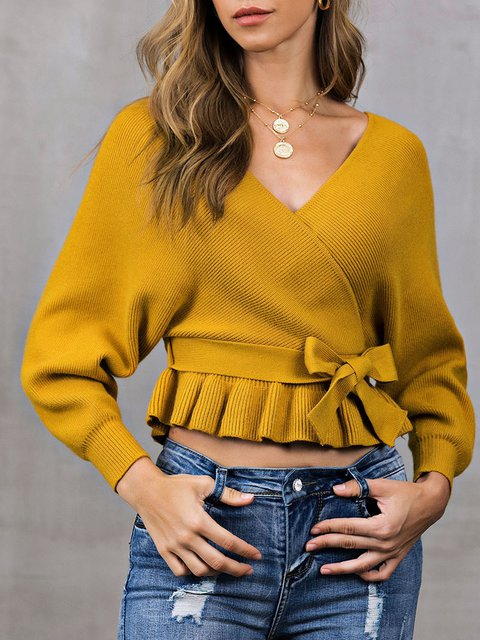 Long Sleeve V Neck Bow Solid Sweater