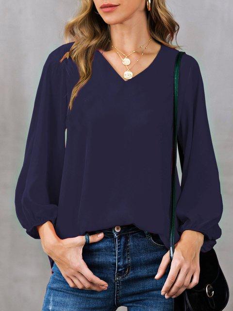 Shift Solid Casual V Neck Shirts & Tops