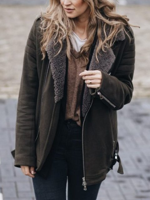 Deep Brown Plain Casual Long Sleeve Paneled Outerwear