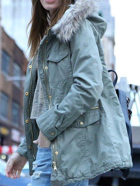 Gray Hoodie Paneled Long Sleeve Outerwear