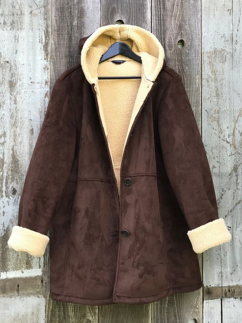 Brown Paneled Long Sleeve Outerwear