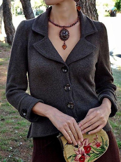 Deep Gray Paneled Wool Blend Long Sleeve Casual Outerwear