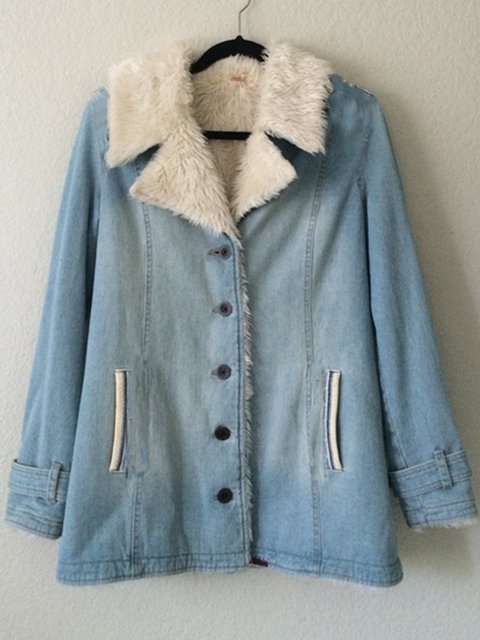 Light Blue Casual Plain Outerwear
