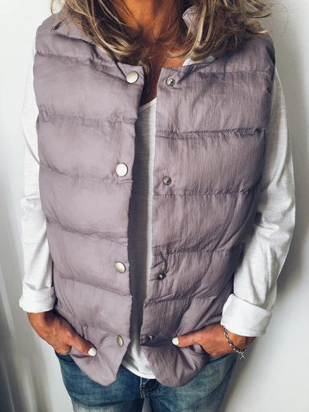 Plain Cotton-Blend Casual Vests