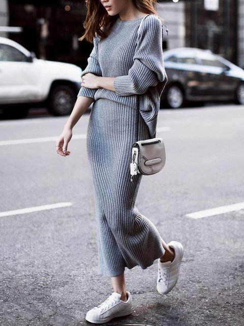 Knitted Long Sleeve Crew Neck Slit Suits