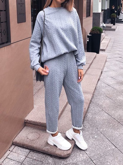 Solid Crew Neck Long Sleeve Knitted Suits