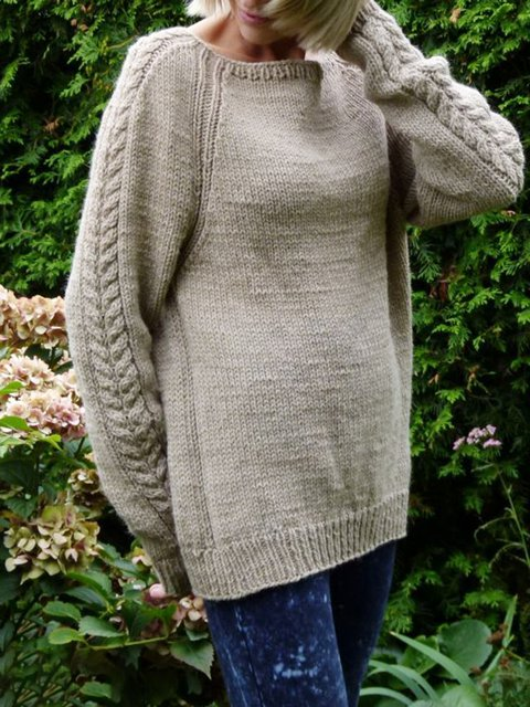 Solid Long Sleeve Crew Neck Knitted Sweater