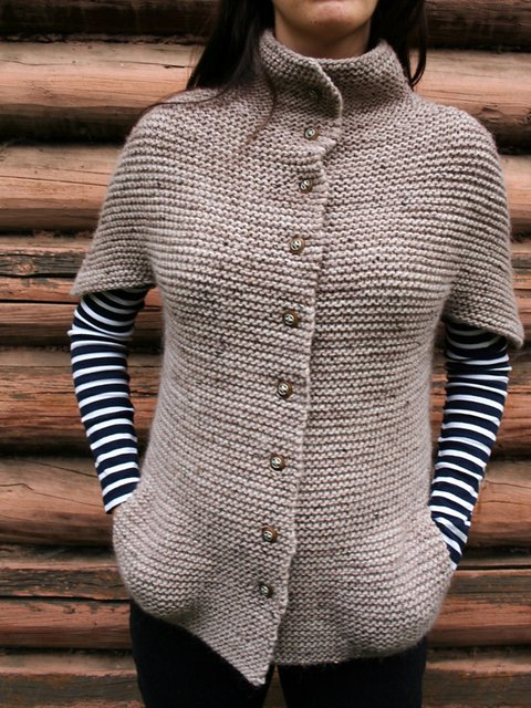 Knitted Vintage Buttoned Short Sleeve Sweater