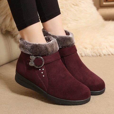 Slip On Flat Heel Snow Boots Plus Size Warm Boots