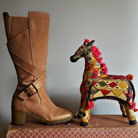 Chunky Heel Daily Buckle Long Boots