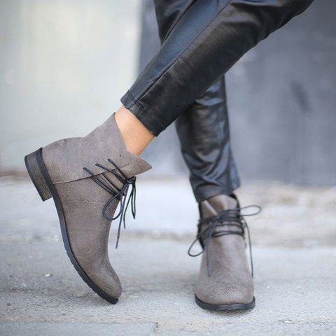 Winter Low Heel Lace-Up Ankle Boots
