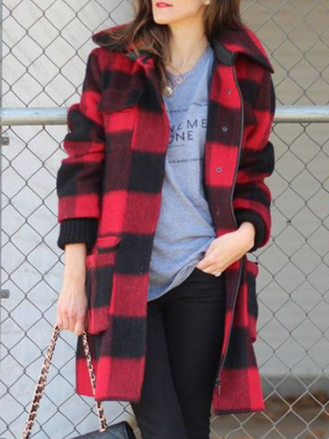 Stand Collar Casual Long Sleeve Checkered/plaid Outerwear