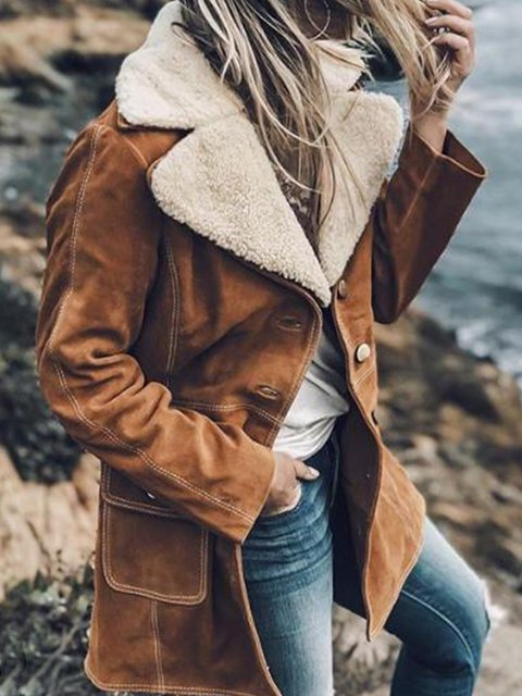 Vintage Plain Turn-down Collar Long Sleeve Pockets Outwear