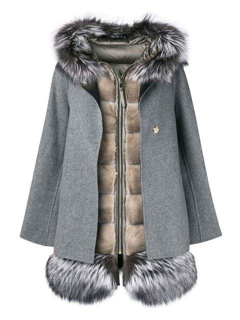 Gray Long Sleeve Wool Blend Casual Plain Outerwear