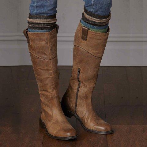 Casual Fall Zipper Pu Long Boots