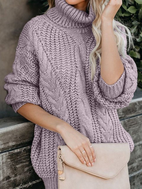 Casual Plus Size Long Sleeve Cowl Neck Sweater