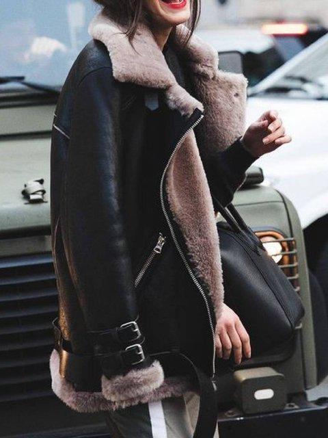 Black Lapel Zipper Long Sleeve Outerwear
