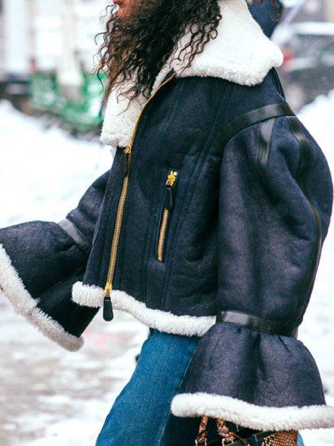 Black Lapel Faux Fur Casual Zipper Outerwear