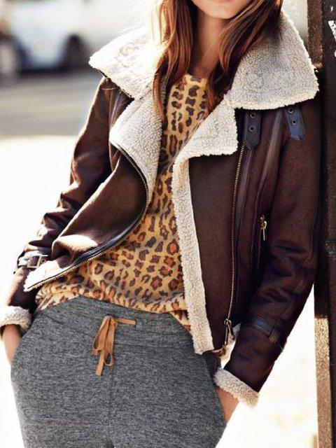Brown Lapel Faux Fur Long Sleeve Outerwear