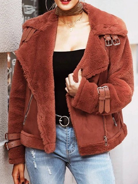 Red Casual Lapel Cotton-Blend Pockets Outerwear