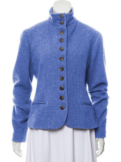 Solid Work Buttoned Jacket Plus Size Pockets Blazer