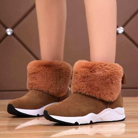 Winter Bowknot Faux Suede Sneakers