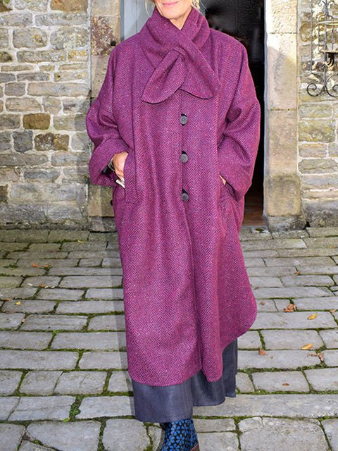 Solid Shift Long Sleeve Wool Blend Outerwear