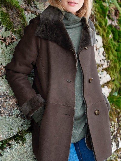 Black Brown Vintage Long Sleeve Shawl Collar Cotton-Blend plus size Outerwear