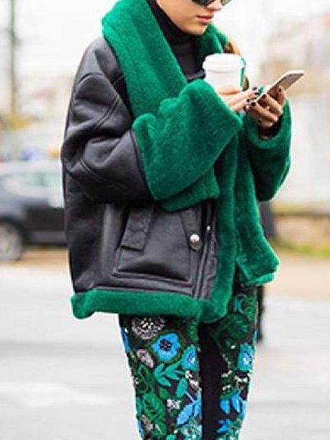 Black Casual Faux Fur Zipper Outerwear