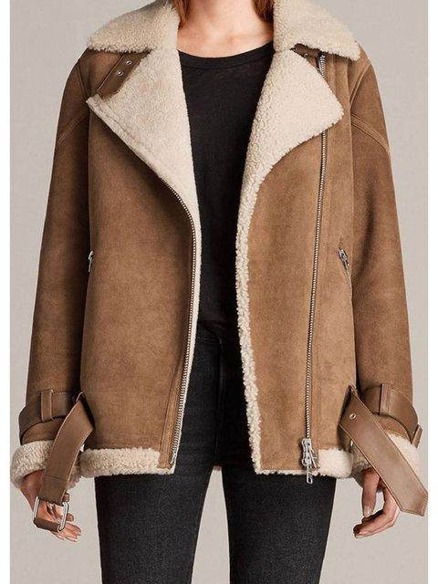 Khaki Faux Fur Lapel Long Sleeve Outerwear