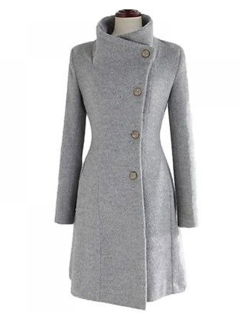 Solid Buttoned Vintage Coat Plus Size Stand Collar Outerwear