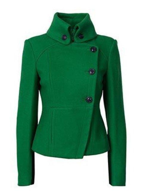 Buttoned Solid Vintage Jacket Plus Size Turtle Neck Coat