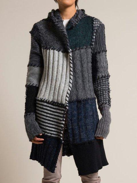 Solid Paneled Vintage Sweater Plus Size Knit Coat