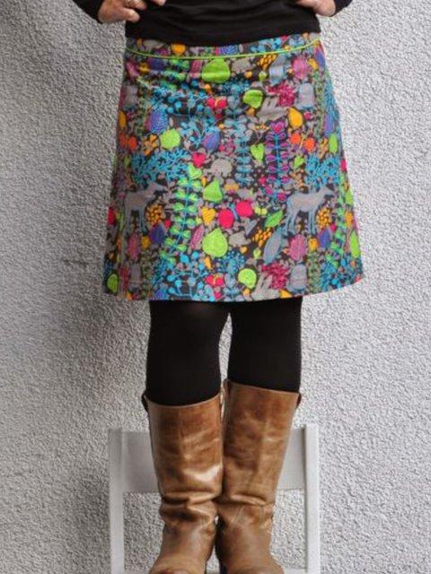 Multicolor Vintage Floral-Print Skirts