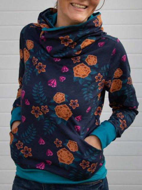 Turtleneck Floral-print Casual Sweatshirt