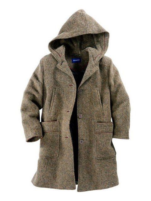 Khaki Wool Blend Casual Plain Outerwear