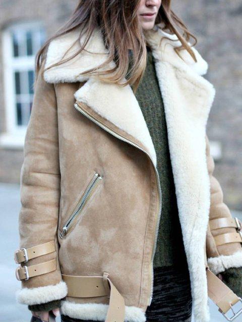 Khaki Pockets Cotton-Blend Casual Lapel Outerwear