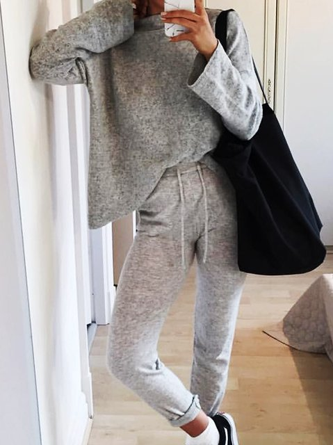 Knitted Plain Holiday Crew Neck Suits