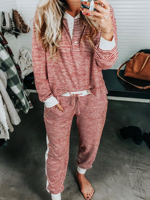 Stripes Long Sleeve Crew Neck Printed Suits