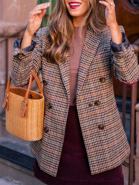 Khaki Casual Lapel Outerwear