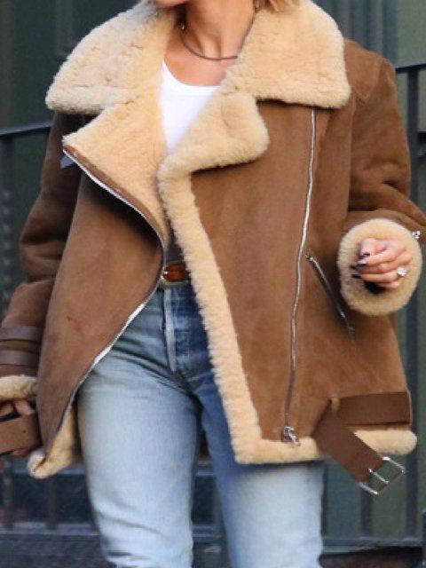 Brown Casual Zipper Long Sleeve Outerwear