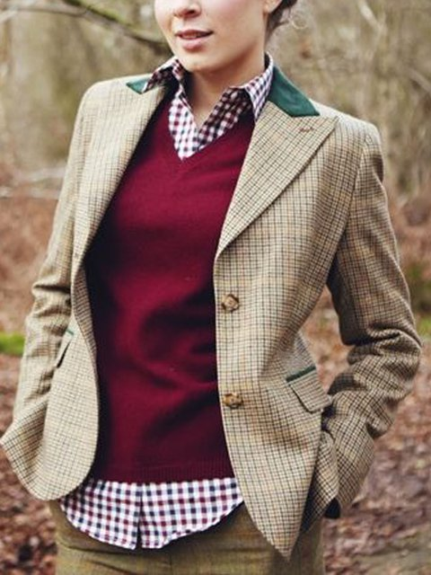 Long Sleeve Casual Wool Blend Checkered/plaid Outerwear
