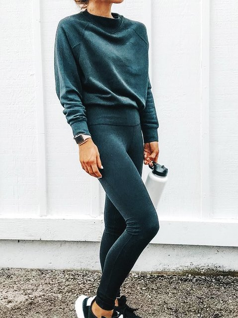 Simple & Basic Shift Knitted Plain Suits