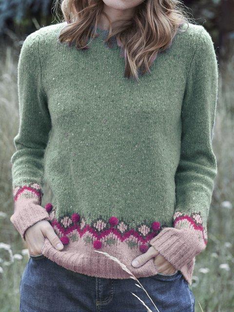 Embellished Long Sleeve Crew Neck Sweater