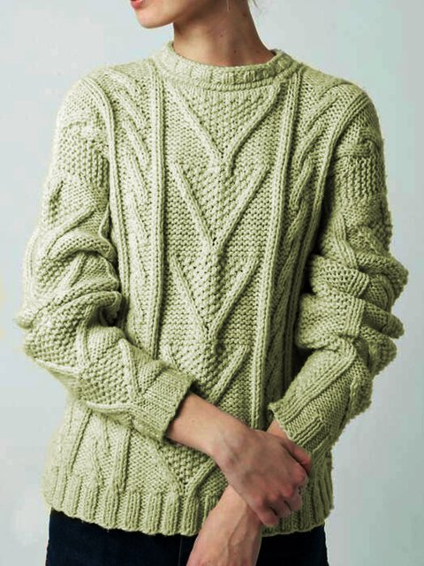 Solid Knitted Round Neck Vintage Sweater