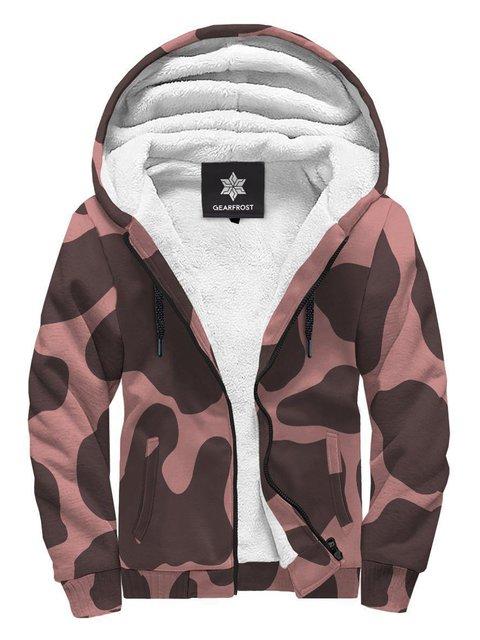 Brown Paneled Long Sleeve Hoodie Geometric Sweatshirt
